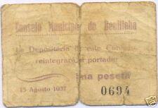 008-INDALO- Benilloba (Alicante) 1 Peseta 1937. RARO !!!!!!!!!!!!!!!!!!!!!!!!!!!