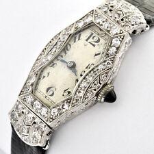 Art Deco Plat & Diamond Ladies Antique Watch By BENRUS Watch Co. Swiss Movement