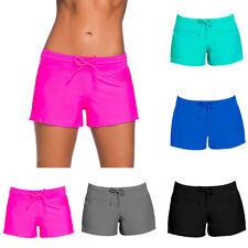 Solid Women's Swim Boardshort Boy Style Shorts Surf Bikini Swimwear Bottom