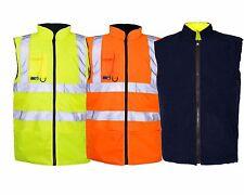 High Viz Vis Fleeced Lined Reversible Warm Padded Body Warmers, Work Waistcoats