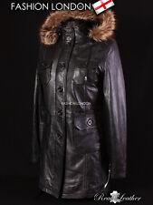 'ALASKA' Ladies Black FUR HOODED Parka Real Leather Jacket Winter Coat