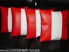 """4 Red & White Stripe in finta pelle Cuscino Copre 16"""" 18"""" 20"""" Cuscini a Dispersione"""