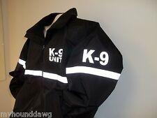 Reflective K-9 Jacket with Reflective Striping, All Weather Jacket, Black & Navy