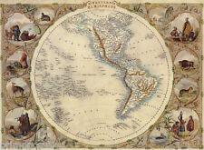 1800'S MAP WORLD GLOBE WESTERN HEMISPHERE PEOPLE ANIMALS VINTAGE REPRO POSTER