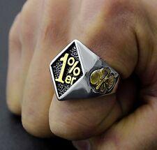 Men Skull Stainless Steel Ring 1%er One Percenter Outlaw Biker Motorcycle Club