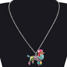 Collier Kette Halskette Anhänger Pudel Hund Metall emailliert