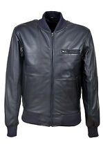 Men's 70'S RETRO BOMBER 275 Navy Cool Classic Soft Italian Nappa Leather Jacket