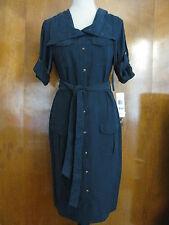 Lauren Ralph Lauren women's navy silk/linen NWT dress sz 4,14 retail value $229