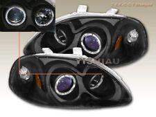 96 97 98 Honda Civic Projector Headlights 2 Halo Black JDM
