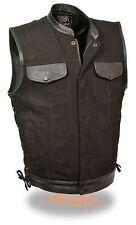 Mens Side Lace Leather Trim Denim Motorcycle Vest Snap & Zipper Front Gun Pocket