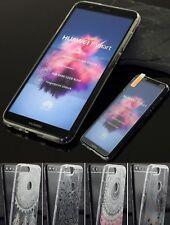 Huawei Y7 2018 Silikon Case Tasche Tattoo Hülle Schutzhülle Cover + Panzerglas🔝
