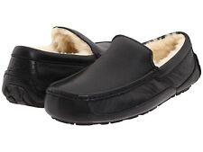 Authentic UGG Men's Ascot Black Leather Slippers - 5379B Winter Slipper *NEW*