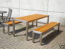 Gartenmöbel Edelstahl Holz Tisch