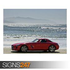 MERCEDES BENZ SLS ON THE BEACH (AB550) CAR POSTER - Poster Print Art A0 A1 A2 A3