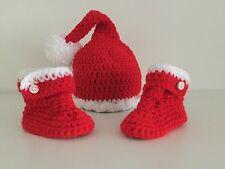 HANDMADE IN UK Crochet Christmas Santa Elf Hat and snUGG boot set Photo Prop