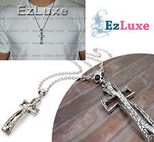 Korean JPOP DBSK Tohoshinki Gothic Long 3D Cross Skull Necklace crystal unisex
