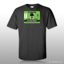 Yukon Alien Hunting Permit T-Shirt Tee Shirt Free Sticker Canada ufo yt