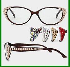 7c465caea90 Crystal Rhinestone Side Oval Reading Glasses Optical Frame Lens Brown Bling
