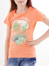 Brunotti T-Shirt Haut à motif imprimé orange Col rond Ajustement régulier Bakiri