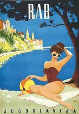 Vintage Rab Yugoslavia Croatia Tourism Poster  A3 Print