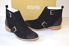 New $225 Michael Kors Adams Monk Strap Bootie Suede Black Ankle/Short Boot