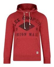 Lee Cooper New Men's Hooded Sweatshirt Tadworth Fleece Hoodie Top Red Marl