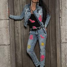 By Alina Jeans 2-Teiler Jeansjacke Jacke Röhrenjeans High Heels Blau Pink