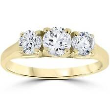 1ct Three Stone Diamond Engagement Womens Anniversary Ring 14k Yellow Gold
