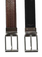 Uomo Robuste Marrone/Nero Re-Con Pelle Reversibile Completo Cintura