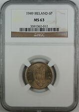 1949 Ireland Six Pence, NGC MS-63