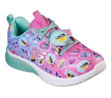 New Skechers 81929L/Npmt Sport Squad Neon Pink Memory Foam Girl's Kid's Shoes