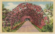Vintage POSTCARD c1943 Rose Arbor Confederate Park JACKSONVILLE, FL WWII