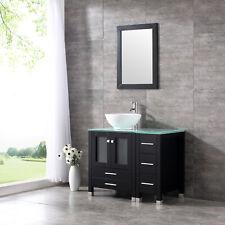 "36"" Bathroom Vanity Cabinet Black Brown or White,Round Ceramic Sink Faucet Drain"