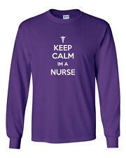 053 Keep Calm I'm a Nurse Long Sleeve Shirt doctor ER ems funny medical costume