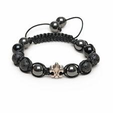 Zebredellas Black Onyx Lava Magnetic Hematite Silver Fleur De Lis Bracelet