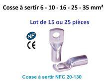Cosse électrique à sertir 6 ou 10 ou 16 ou 25 ou 35 mm²  lot de 15 ou 25 pièces