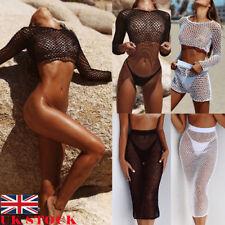 UK Women Sexy Crochet Mesh Swimwear Summer Beach Dress Sheer Bikini Cover Up Hot
