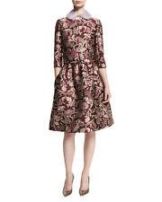 $1990 NEW Baroque Floral Damask Jacquard Skirt Figure Burgundy Pink Beige 8