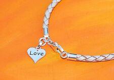 Ladies 3mm  leather & Sterling silver 'Love' heart bracelet - Lyme Bay Art.