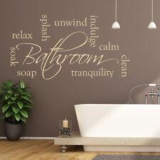 Bathroom Words Wall Sticker Relax Soak Unwind Wall Decal Calm Tranquil Decor