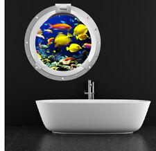 Tropische vis Patrijspoort Muursticker 3D Zee Oceaan Muurtattoo Kinderen