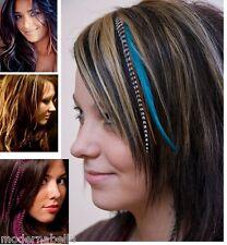 fascia colorata per capelli EXTENSION,CLIP con piuma strisciata,10 colori
