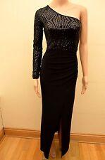 New Lipsy Black Geometric Sequin One Shoulder Sleeve Maxi Dress Sz UK 6 - 8