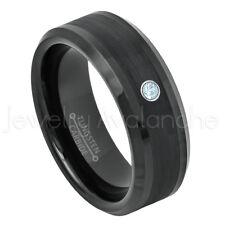 Beveled Tungsten Ring 0.07ct Blue Topaz Ring, November Birthstone Ring #663