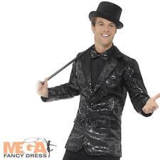 Black Sequin Jacket Mens Fancy Dress Cabaret Carnival Circus Coat Adults Costume