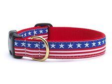 UP COUNTRY STARS & STRIPES DOG COLLAR PATRIOTIC NYLON/RIBBON USA MADE