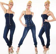 Damen Jeans Overall Hose Jumpsuit Einteiler Schulterfrei Denim Gummizug Corsage