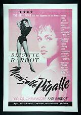MAM'ZELLE PIGALLE * CineMasterpieces PINK BRIGITTE BARDOT ORIG MOVIE POSTER 1958