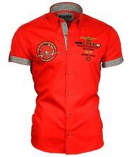 Viga reticulada de Luxe camisa polo camisa manga corta Stick button down cuello 82603 rojo m-5xl