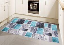 Teppich Modern Flachgewebe Gel Läufer Küchenteppich Küchenläufer Karo Muster Tür